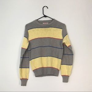 VTG Striped Knit Sweater Grey Yellow Blue Red M